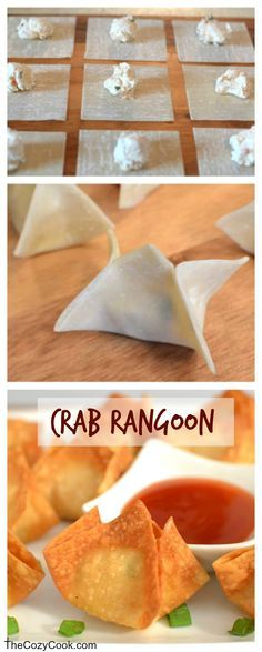 This crispy Crab Rangoon is just like from a restaurant and so fun and easy to make at home! This crispy Crab Rangoon is just like from a restaurant and so fun and easy to make at home! Seafood Recipes, Appetizer Recipes, Cooking Recipes, Easy To Make Appetizers, Homemade Crab Rangoon, Easy Sweet Crab Rangoon Recipe, Sushi Comida, Deep Fryer Recipes, Chinese Chicken Recipes