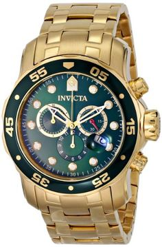 Invicta Men's 0075 Pro Diver Chronograph 18k Gold-Plated Watch - http://www.specialdaysgift.com/invicta-mens-0075-pro-diver-chronograph-18k-gold-plated-watch/