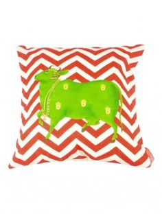 Red-Green Organic Cotton Cushion Cover - 16in x 16in