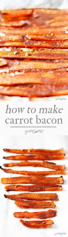 This delicious, easy-to-make vegan bacon substitute is made from carrots and five other store cupboard ingredients. Perfect for those who miss those crispy bacon rolls. This vegan alternative to bacon will keep all your vegan friends happy Veggie Recipes, Whole Food Recipes, Vegetarian Recipes, Cooking Recipes, Healthy Recipes, Dishes Recipes, Bacon Recipes, Carrot Recipes, Carrot Bacon Recipe