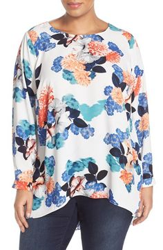Vince Camuto Pleat Back Floral High/Low Blouse (Plus Size) available at #Nordstrom