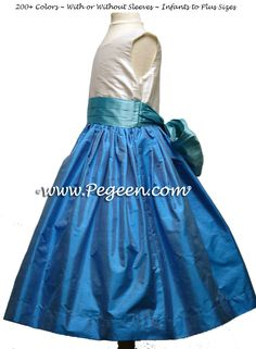 34c064fc7fe Tiffany Blue and Turquoise Silk Flower Girl Dress Style 398