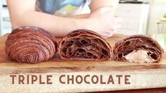 Triple chocolate pain au chocolat - Laminate with chocolate butter - YouTube