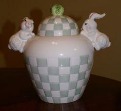 RARE 1999 CBK Bunny Rabbit Checked Basket Weave Cookie Jar - Handpainted Ceramic
