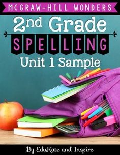 This unit was designed to supplement the McGraw-Hill Wonders spelling program for Second Grade (Unit Weeks The Wonders curriculum provides. 2nd Grade Spelling, 2nd Grade Ela, Spelling Lists, 2nd Grade Teacher, 2nd Grade Classroom, 2nd Grade Reading, Spelling Words, Second Grade, Spelling Ideas