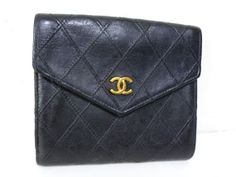 vintage authentic CHANEL paris black calfskin leather Double FLAP WALLET w/change purse & credit card slips
