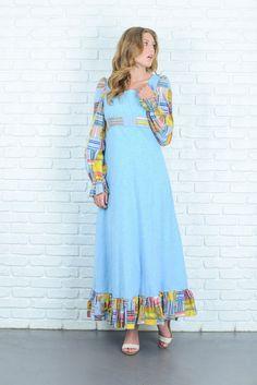 Vintage 70s Blue Maxi Dress Patchwork Print by thekissingtree