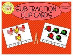 """Each clip card shows a set of objects, some of which have been marked with a colored """"X"""".  Students interpret the scene and translate it into a subtraction expression such as """" 5 - 3"""".  There are 55 unique cards in this set."""
