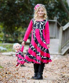 Look what I found on #zulily! Fuchsia Swirl Dress & Doll Dress - Girls #zulilyfinds