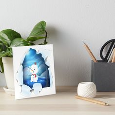 Tear It! ~ Snowbaby Line #Gallery #Boards by We~Ivy. #winter #frozen #ice #snowman #blue #sparkling #glitter #tear #hole #flippy #funky Art Prints For Home, Presents For Friends, My Themes, Website Themes, Good Cause, Watercolor Paper, Art Boards, Line Art, Ivy