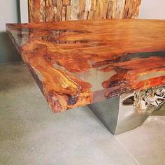 Resin Furniture, Furniture Making, Furniture Design, Wood Resin, Resin Art, Deco Nature, Live Edge Wood, Resin Table, Wood Slab