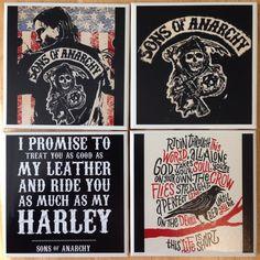 Sons of Anarchy coasters, SOA COASTERS, tv show coasters, motorcycle, bikers, jax teller, samcro, redwood original, opie, motorcycle gang on Etsy, $20.00