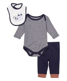 This René Rofé Baby Navy & Gray Long-Sleeve Bodysuit Set by René Rofé Baby is perfect! #zulilyfinds