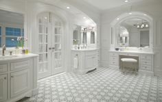 DecorPad - bathrooms - Restoration Hardware Newbury Bath Stool white built-in bathroom vanity marble top arched mirror arched French doors twin white bathroom cabinets marble countertops white gray mosaic tiles floor