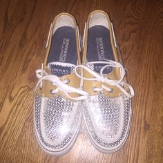 Silver Sparkle and Beige Sperrys In amazing condition. Hardly worn. Sperry Top-Sider Shoes Flats & Loafers