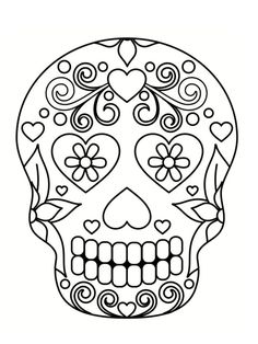 Day Of the Dead Coloring Pages . 30 Day Of the Dead Coloring Pages . Sugar Skull Coloring Pages Skull Coloring Pages, Halloween Coloring Pages, Coloring Book Pages, Sugar Skull Painting, Sugar Skull Art, Sugar Skulls, Printable Adult Coloring Pages, Coloring Pages For Girls, Printable Halloween