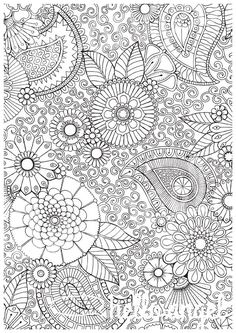 Paisley Floral - Colour with Me HELLO ANGEL - coloring, design, therapy, detailed, paisley, floral, coloring for grown ups, coloring pages by HelloAngelCreative on Etsy