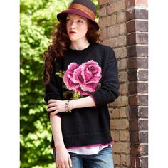 In Bloom Pullover - Cozy pullover with a pretty rose detail on the front and back.