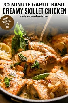 Delicious and easy creamy skillet chicken with garlic and basil. It's Whole30, keto, and AIP, and it only takes 30 minutes from start to finish! This one pot meal is so flavorful with easy cleanup! #keto #whole30 #paleo #aip Low Carb Chicken Recipes, Paleo Recipes, Real Food Recipes, Keto Chicken, Breakfast Recipes, Dinner Recipes, Creamy Garlic Chicken, Healthy Comfort Food, Skillet Chicken