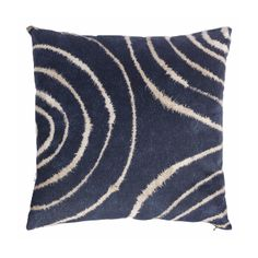 Indigo Shoni Cushion: We love this indigo blue design cushion which combines large scale concentric circles and traditional tie-dye techniques.