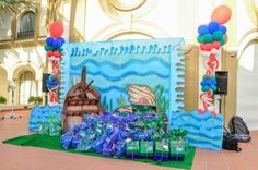 Gift Display custom made for the Little Mermaid Pool Party by www.fantasyparty.com