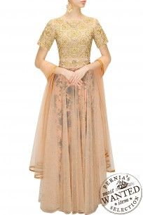 Nude jaal embroidered floral print anarkali set