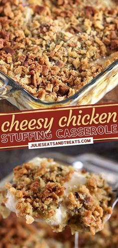 This Cheesy Chicken Stuffing Casserole is a delicious addition to your menu! Not only will this main dish satisfy your craving for Thanksgiving comfort food, but it is also quick and easy enough to make for dinner! What are you waiting for? Save this and try it tonight! Yummy Chicken Recipes, Yum Yum Chicken, Great Recipes, Dinner Recipes, Favorite Recipes, Easy Weeknight Meals, Easy Meals, Chicken Stuffing Casserole, Best Casseroles