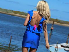 Melanie Open Back Ruffle Dress- Royal Blue-  Open back, ruffle accent body con mini dress. Fun, party ready look, for day or night.