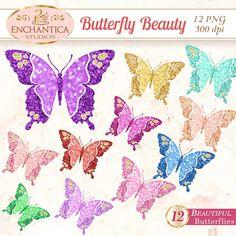 Butterfly Png, Butterfly Clipart, Butterfly Clip Art, Butterfly Printable, Butterfly Glitter, Butterfly Scrapbook, Digital Butterfly, Images