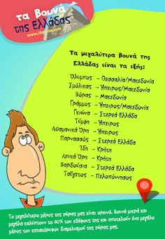 Τα βουνά της Ελλάδας Kids Corner, School Life, Christmas Books, Biology, Activities For Kids, Homeschool, Teacher, Greeks, Education