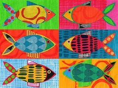 Lu Summers of Summersville blog Screen-printed, painted paper fish collage 0211