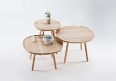Minimal coffee and side tables. Table tops somewhere between square and round. Naïve Family table collection by Copenhagen-based designers etc. etc.