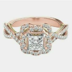 Shop our TRULY™ Zac Posen ct. Diamond Floral Halo Engagement Ring in Rose Gold. Browse our rings at Helzberg Diamonds today! Engagement Rings Princess, Beautiful Engagement Rings, Rose Gold Engagement Ring, Vintage Engagement Rings, Diamond Wedding Bands, Diamond Rings, Solitaire Rings, Halo Rings, Solitaire Engagement