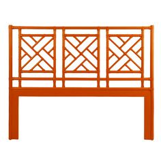 David Francis Furniture Chinese Chippendale Open-Frame Headboard Size: Queen, Finish: Orange Slice