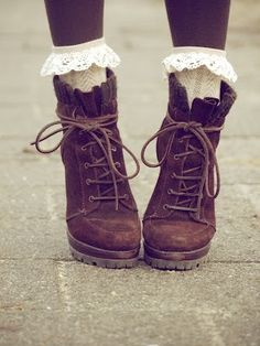 For a more girly vintage touch to a pair of brown lace up boots, add a pair of…