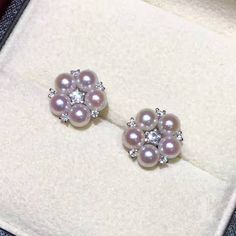 $275.00 | 4-4.5mm Akoya Pearls Flower Stud Earrings - AAAA