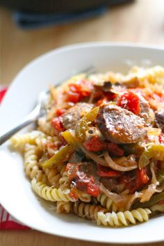 Sausage Cacciatore - make healthier by using turkey sausage and whole wheat pasta