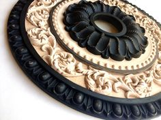 Items similar to Painted Ceiling medallion,RENAISSANCE II hand painted in black, distressed and antiqued on Etsy House Ceiling Design, Roof Design, Ceiling Rose, Ceiling Tiles, Plafond Staff, Carving Designs, Ceiling Medallions, Diy Arts And Crafts, Painting Cabinets