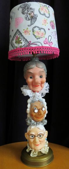 poppekastpoppen - fun old lady doll head lamp (not sure how else to describe it) Types Of Puppets, Abraham And Sarah, Hand Puppets, Do It Yourself Projects, Doll Head, Craft Work, 50th Anniversary, Handicraft, Upcycle