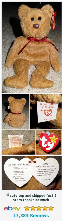 TY Beanie Baby Curly Brown Bear Brown Nose PE Pellets 1996/1993 Errors Rare - TH | eBay http://www.ebay.com/itm/352078611204?ssPageName=STRK:MESELX:IT&_trksid=p3984.m1558.l2649