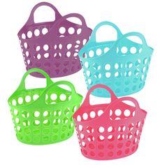 Decorative Storage Bins, Toy Storage, Storage Boxes, Plastic Basket With Handle, Plastic Baskets, Diy Organisation, Toy Bins, Pool Toys, Jelly Shoes