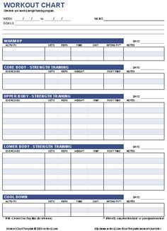 Free Workout Chart Template