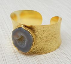 Natural Druzy Texture Designer Cuff Bangle Fashion Jewelry Collection 22k Yellow Gold Plated