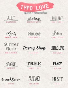 fun fonts, some more modern, some fun, love seasdie, breakfast, vintage & little love  * Ann.meer Lovely Fonts #4  ~~ {15 Free Fonts w/ easy download links}