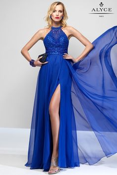 A-line full circle, silky chiffon skirt with a slit, beaded halter top and open back.