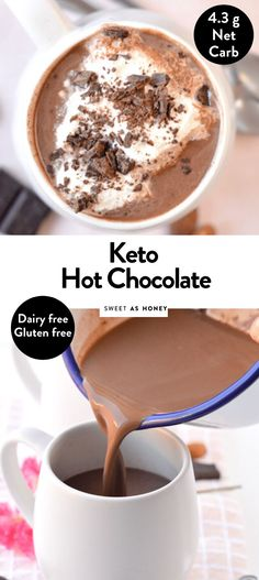 Low Carb Hot Chocolate with Almond Milk, unsweetened cocoa powder and stevia. A creamy almond milk hot drink delicious served with whipped heavy cream or coconut cream Ketogenic Recipes, Low Carb Recipes, Lunch Recipes, Paleo Meals, Healthy Recipes, Keto Foods, Drink Recipes, Ketogenic Diet, Free Recipes