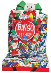 This great holiday giveaway gift set includes 3 Christmas Daubers, 1 Bingo At Last Sign, 1 Pastime T-Shirt, 1 Face Ticket Holder, 1 Deck Of Calling Cards, 1 Bingo Ball Key Chain, Cushion and Tote Matching Set, 1 Glue Dauber and 1 Travel Mug. Also includes a Stuffed Animal, Candy Cane Pen, 1 Christmas Memo Pad, 1 Christmas Figurine and Christmas Bows and Decorations. Happy Bingo To You! Christmas Bingo, Christmas Bows, Christmas Gifts, Holiday, Christmas Figurines, Calling Cards, Basket Ideas, Matching Set, Candy Cane