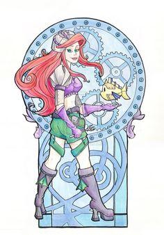 Steampunk Ariel Acrylic by khallion.deviantart.com on @deviantART