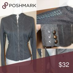 FREE PEOPLE Stitch in Time Gray Blazer Gray blazer with blue outside stitching has two front pockets and two floral inside pockets.  The closures in front are placed on a pretty pearl encrusted trim.  Very hippie, Boho, festival and feminine looking a true Free People staple piece Free People Jackets & Coats Blazers