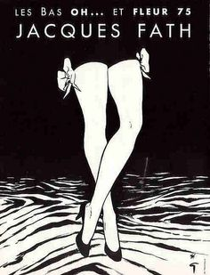 Rene Gruau illustration for Jacques Fath - a French fashion designer who was considered one of the 3 dominant influences on postwar haute couture, the others being Christian Dior and Pierre Balmain. Jacques Fath, Vintage Advertisements, Vintage Ads, Vintage Posters, Illustration Vector, Illustrations Posters, Pierre Balmain, Lingerie Vintage, Rene Gruau